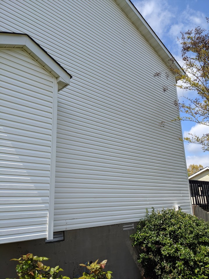 Pressure Washing your home with low pressure causes no damage to the vinyl siding and will leave your home clean