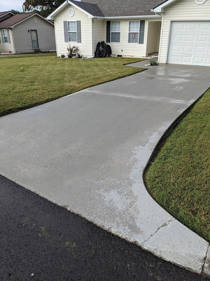 Powerwashed driveway