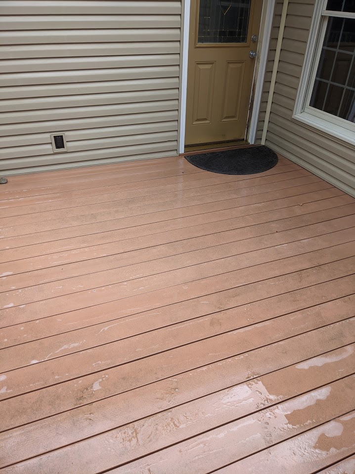 Once clean, the deck is algae free which means no longer slippery