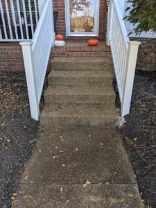 Front steps have algae and dirt on them making them slippery