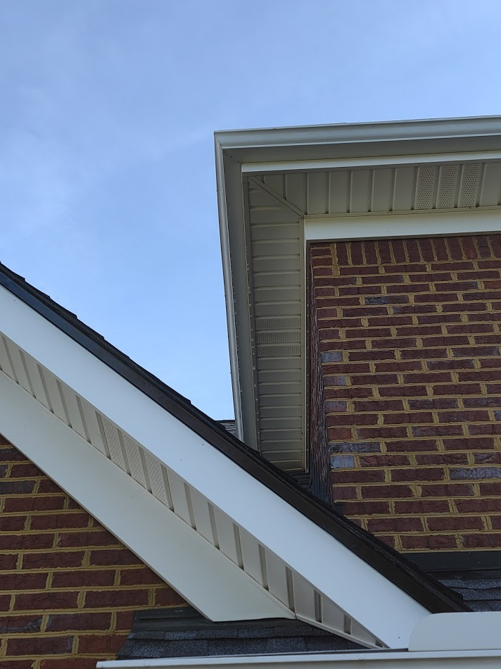 Once washed the soffits and gutters are white again