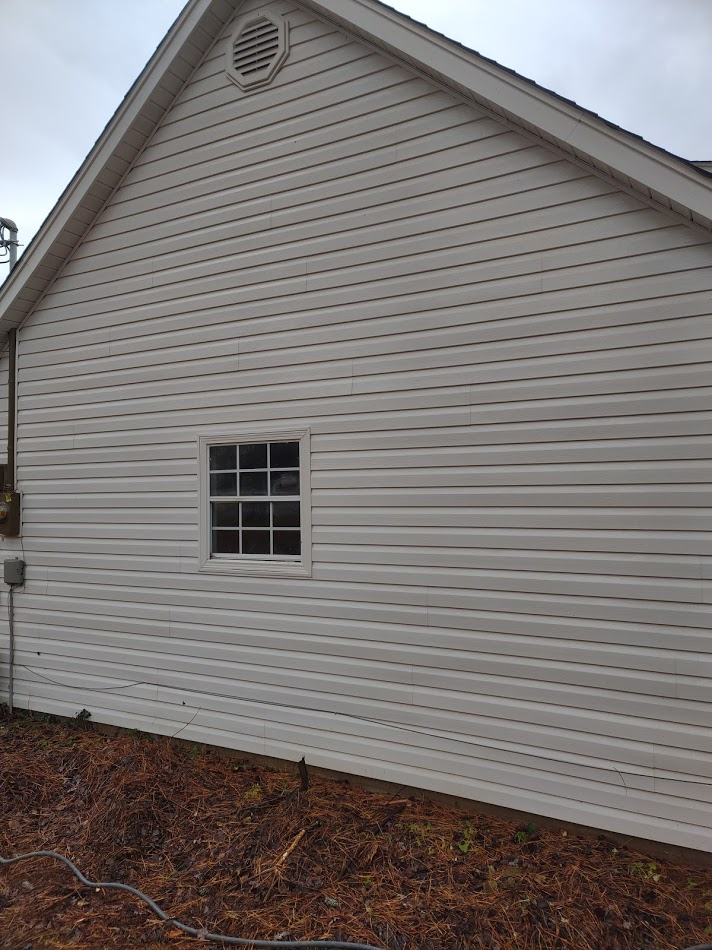 pressure washed vinyl siding on north side of home to remove alage