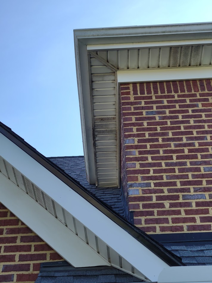 Gutter and soffit look grey and black from algae and mold